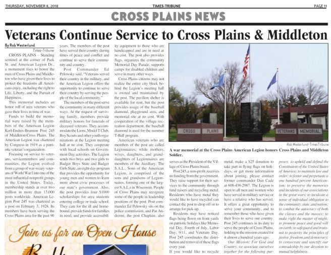 american legion of cross plains 2018