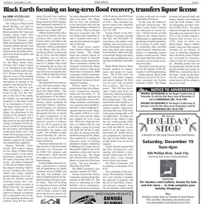 december 13 2019 black earth village board meeting - floods