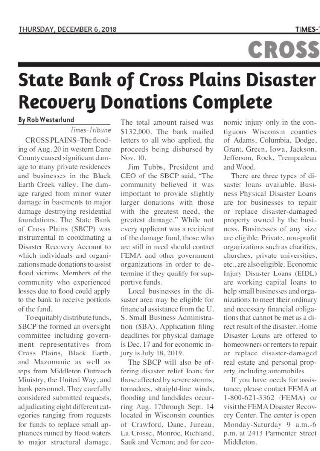 state bank of cross plains fund
