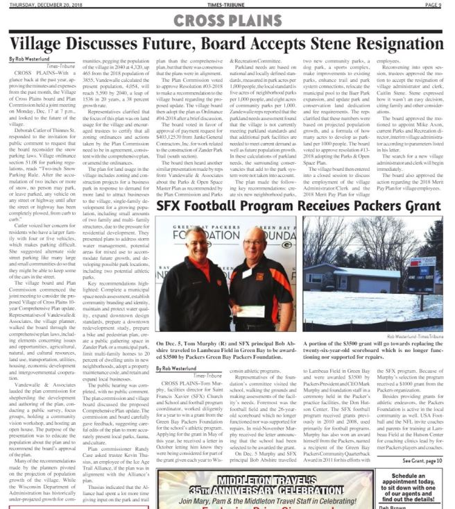 village board and sfx football